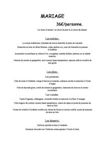 domaine sevenier spa restaurant Menu Mariage 36euros pdf 212x300 - Bar, ice–cream Counter, Restaurant