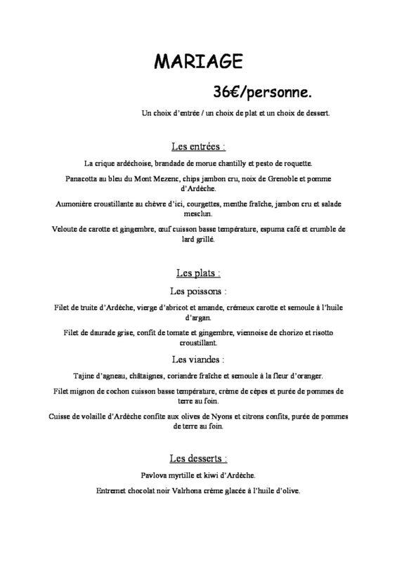 domaine sevenier spa restaurant Menu Mariage 36euros pdf 565x800 - Seminars / Reception
