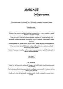 domaine sevenier spa restaurant Menu Mariage 54euros pdf 212x300 - Bar, ice–cream Counter, Restaurant