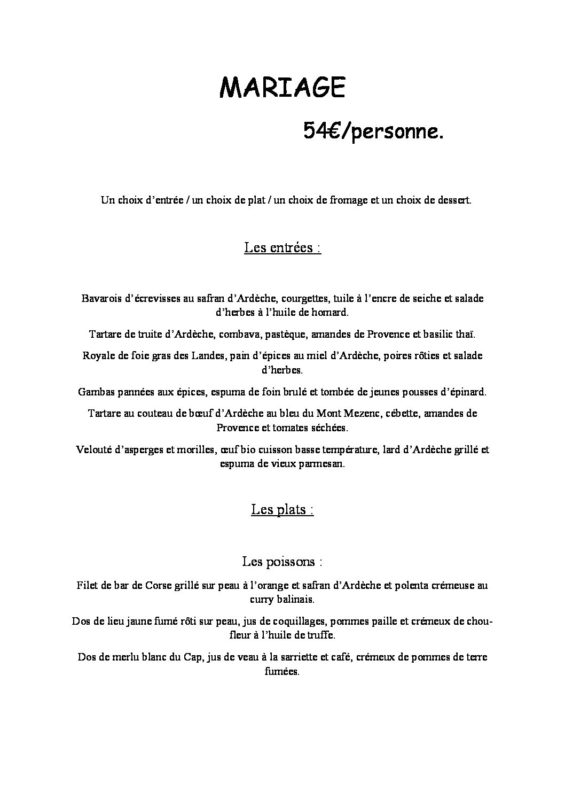 domaine sevenier spa restaurant Menu Mariage 54euros pdf 565x800 - Seminars / Reception