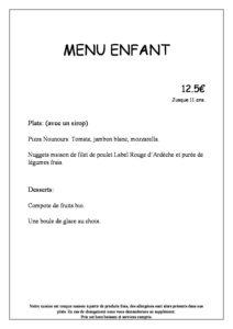 domaine sevenier spa restaurant Menu Menu Enfant français pdf 212x300 - Bar, ice–cream Counter, Restaurant