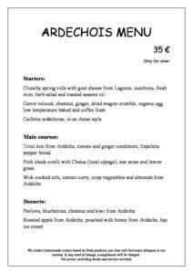 domaine sevenier spa restaurant carte Menu ardechois 35€ anglais pdf 212x300 - Bar, ice–cream Counter, Restaurant