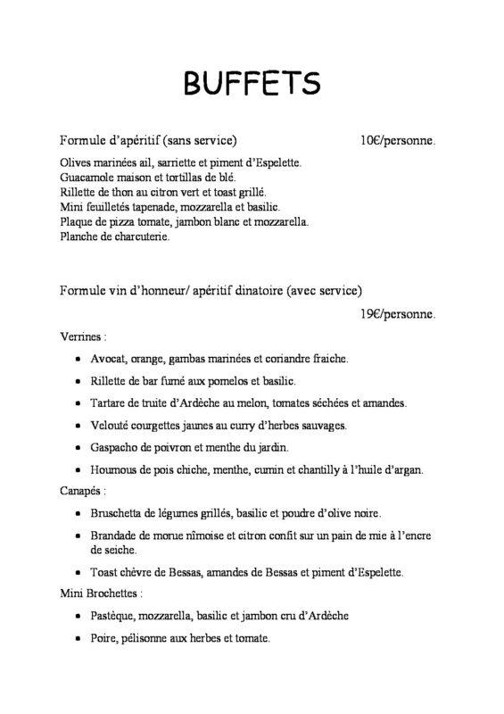 domaine sevenier spa carte Les buffets Mariage pdf 565x800 - Seminars / Reception