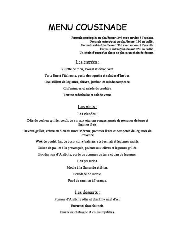 domaine sevenier spa restaurant Menu Cousinade pdf 565x800 - Seminars / Reception