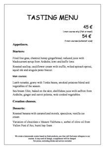domaine sevenier spa restaurant Menu Degustation anglais pdf 212x300 - Bar, ice–cream Counter, Restaurant