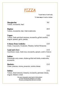 domaine sevenier spa restaurant carte Pizza anglais pdf 212x300 - Bar, ice–cream Counter, Restaurant