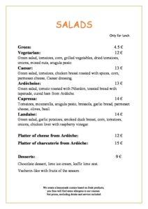 domaine sevenier spa restaurant carte Salades anglais pdf 212x300 - Bar, ice–cream Counter, Restaurant