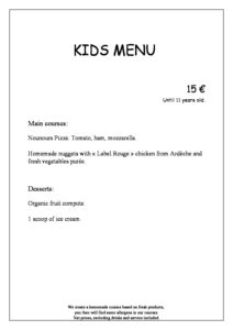 Menu Enfants anglais pdf 212x300 - Bar, ice–cream Counter, Restaurant
